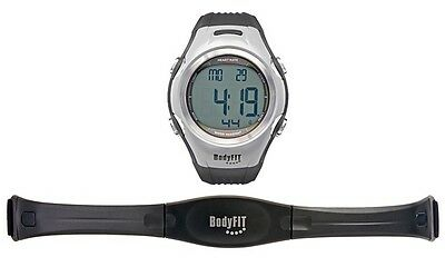 New - BodyFit Heart Rate Monitor Watch with wireless chest strap - Silver