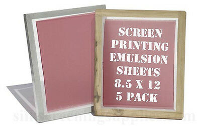 "Emulsion Sheets - 5 Pack 8.5""x12"" Screen Printing"