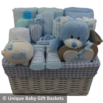 Deluxe, large baby gift basket/hamper boy baby shower maternity gift
