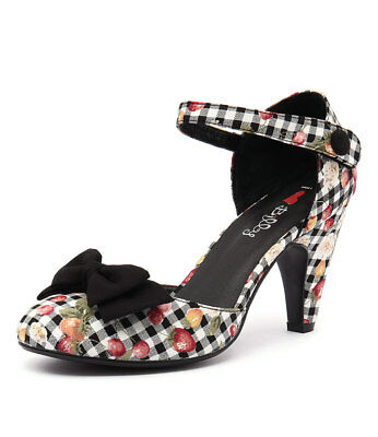 New I Love Billy Annie Black Gingham Print Black Womens Shoes Casual