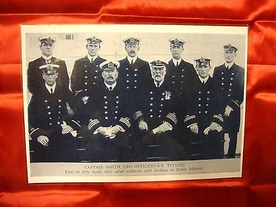 Titanic Captain Edward J. Smith Picture With Officers Laminated Black & White