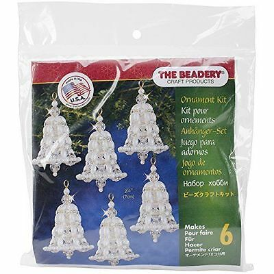 Beadery Holiday Beaded Ornament Kit Crystal and Pearl Bells 2.75-inch Ma