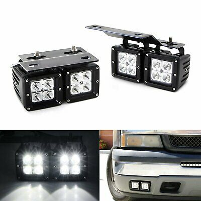 80W Dual LED Pods w/ Foglight Bracket/Wirings For Avalanche Silverado 1500 2500