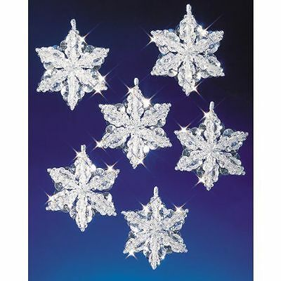 Beadery Plastic Holiday Beaded Ornament Kit Snow Crystals 3.5-inch Makes 6
