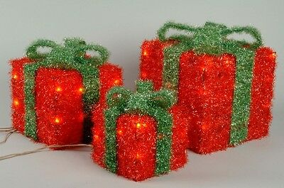 Set Of 3 Light Up Gift Boxes - Red with Green Bow