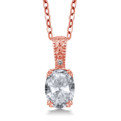 1.31 Ct Oval White Topaz White Diamond 18K Rose Gold Plated Silver Pendant