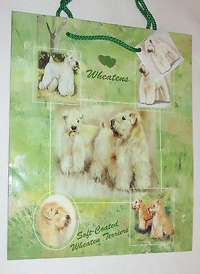 Soft Coated Wheaten Terriers Gift Bag Present Handles Green Tag Dog Puppies New