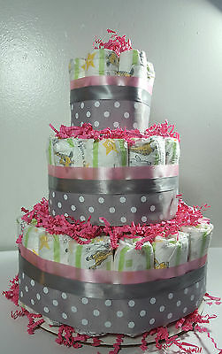 3 Tier Diaper Cake - Pink and Silver Polka Dot - Shower Centerpiece