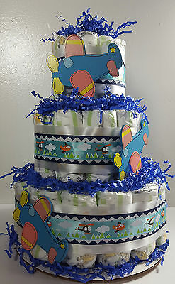 3 Tier Diaper Cake - Blue and White Plane Cake - Boy Baby Shower Centerpiece
