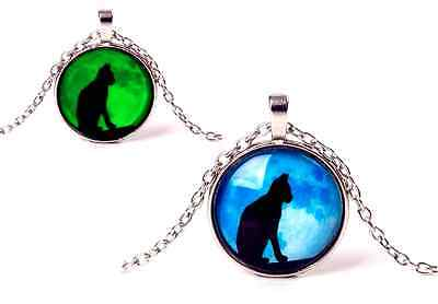 Glow in the Dark Cat Blue Moon Luminous Night Necklace Pendant in Gift Bag/Box!