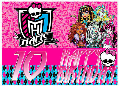 Monster High Customised Edible REAL Icing Birthday Cake Topper multiple sizes