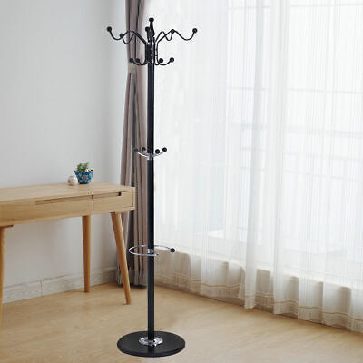 "70"" 15 Hooks Metal Coat Hat Jacket Stand Tree Holder Hanger Rack w/ Marble Base"