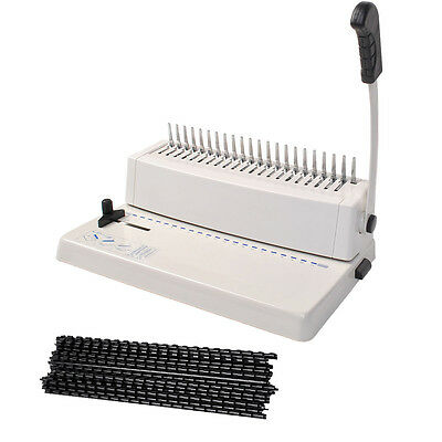 21-Hole 250 Sheets Paper Comb Punch Binder Binding Machine Scrapbook w/200 Combs