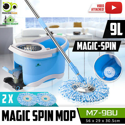 360 Degree Spinning Mop & Stainless Steel MicroFibre Spin Dry Bucket 2X Mop Head