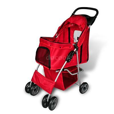 Red Folding Pet Stroller Dog/Cat Travel Carrier Puppy Jogger Buggy 3 wheels A5W2