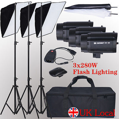 840W+2* Umbrella +1*trigger Photography Flash Lighting Kit Strobe carry bag