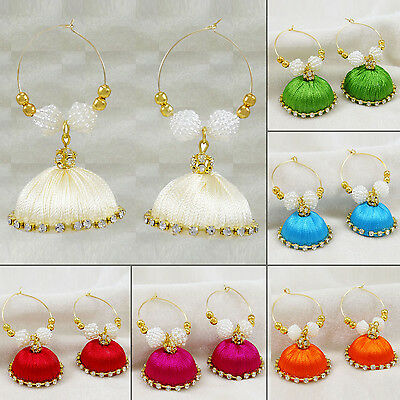 Ethnic Indian Goldtone Thread Wrapped Jhumka Earring Set Women Designer Jewelry
