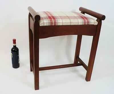 Very well made 1950's Teak  dressing stool, professionally  re-upholstered VGC