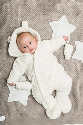 Unisex baby cream fluffy snowsuit all in one newborn 0-3-6 months gift boy girl