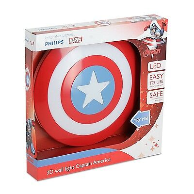 Captain America Shield 3D Wall Night Light Kids Children Bedroom Decoration Gift