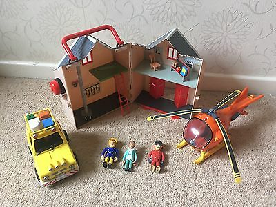 Fireman Sam Deluxe Fire Station, Helicopter, Rescue Jeep & Figures