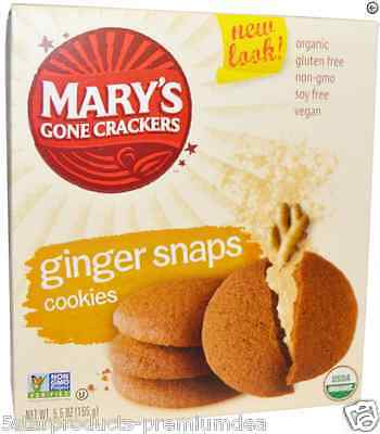 New Mary's Gone Crackers Cookies Ginger Snaps Snacks Gluten Wheat Free Vegan