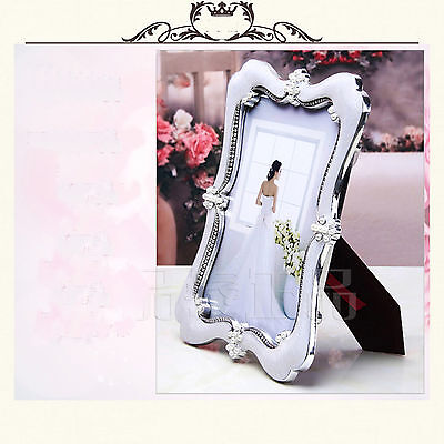 5x7in. Silvery Photoframe Placed Desktop Decoration Resin Photo Frame Albums