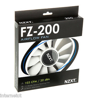 Nzxt Fz-200 Airflow Black & White 12V Fan With Sleeve Bearing & 3 Pin Connector