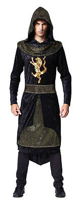 Mens Medieval Prince Knight Assassin Hooded Robe Game Thrones Fancy Dress Outfit