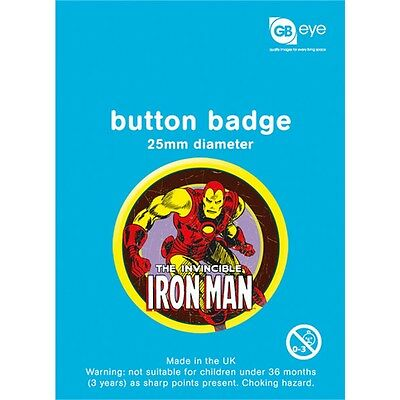 Marvel Iron Man Button Badge - 25mm Film Super Hero Comic Fan Official