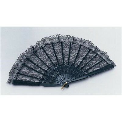 Black Lace Ladies Spanish Fan - Fancy Dress Accessory Hand