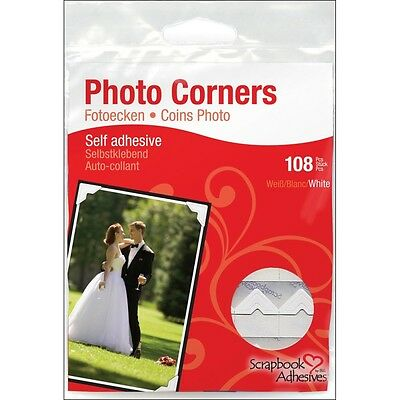 White 108 Piece Photo Corners Pack - Paper Scrapbook Adhesives Self Adhesive Of