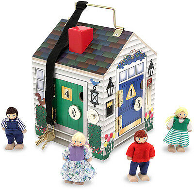 Melissa & Doug DOORBELL HOUSE Child Puppets Dolls Pretend Play w/ Keys BN