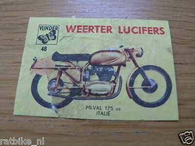M48 Weerter Lucifers,matchbox Labels Mival 175 Cc Italy  Motorcycle