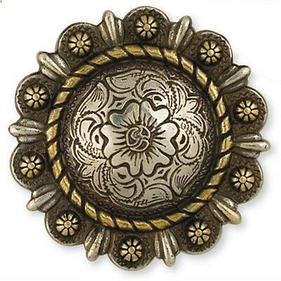 """1-1/2"""" Silver & Gold Roped Berry Round Concho - 1-1 2"""" Screwback Belt Customise"""