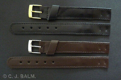 Quality Leather Vintage Style Open-Ended Watch Strap Black or Brown 10mm to 20mm