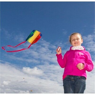 Hq Rainbow Pocket Sled Kite - Childrens Coloured Easy To Fly With Streamers