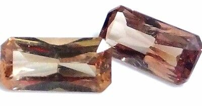 NATURAL AWESOME PINKISH GARNET LOOSE GEMSTONES (PAIR) EMERALD CUT (6.9 x 3.3 mm)