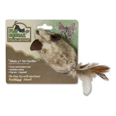 Play N Squeak Shake Your Tail Feather Cat Toy - Kitte Mouse Hunting Game Pet