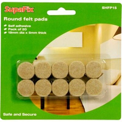 Pack Of 20 Round Self Adehsive Felt Pads - 20x Supafix 19mm Flooring Protection