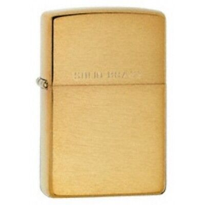 Brushed Brass Zippo Lighter - W 'solid ' On Lid Small Pocket Gift Accessory
