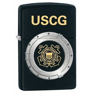 Matte Black Uscg Zippo Lighter - Small Pocket Smokers Gift Present Accessory
