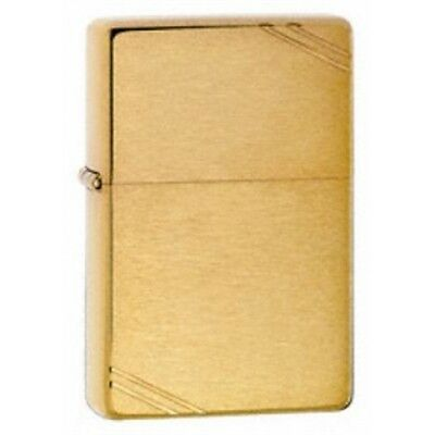 Brushed Brass Vintage Zippo Lighter - Small Pocket Gift Present Smokers