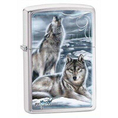 Brushed Chrome Mazzi Winter Wolves Zippo Lighter - Pocket Gift Smokers Accessory