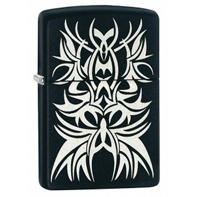 Matte Black And Chrome Tribal Zippo Lighter - Pocket Gift Present Smokers
