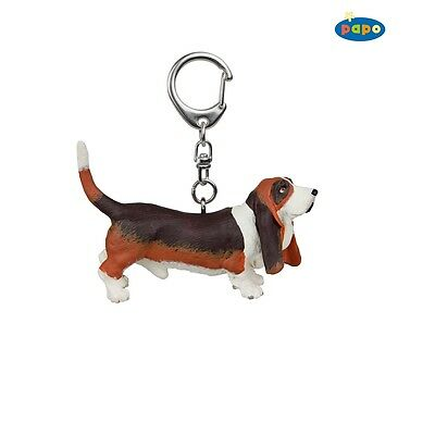 Papo Basset Hound Keyring - Key Ring Dog Pet Farm Animal Kids Toy Figurine