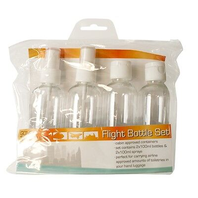 100ml Cabin Approved Flight Bottle Set - Pack Airport Travelling Toiletries