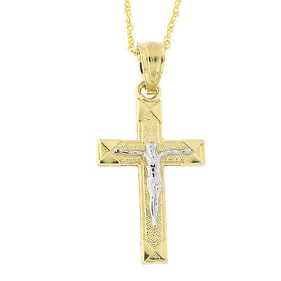 Beauniq 10k Yellow and White Gold Two-Tone Crucifix Cross Pendant Necklace