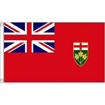 5ft x 3ft Ontario Flag With 2 Eyelets - Canada Canadian 5ft Metal