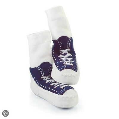 Mocc Ons Sneaker Navy 6-12 Months - Moccasin Slipper Sock Sneakers 6-12mths